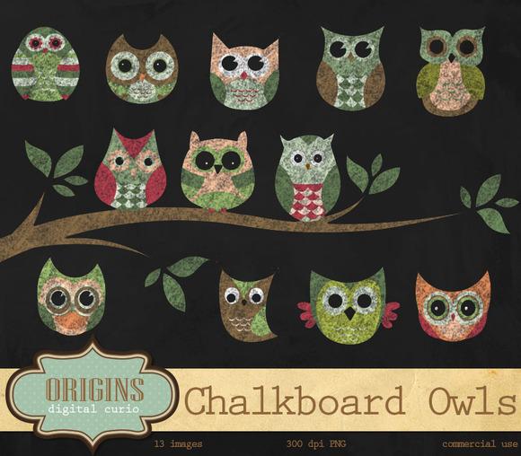 Chalkboard Owls Clipart