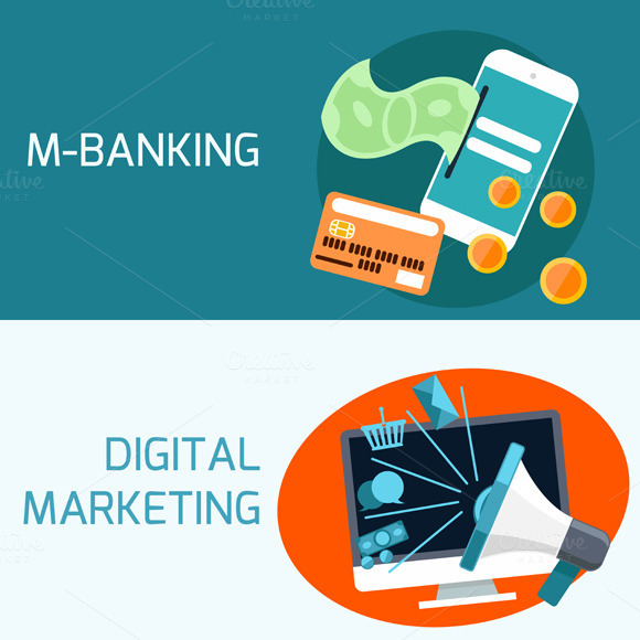 Concept of mobile banking digital for Digital marketing materials