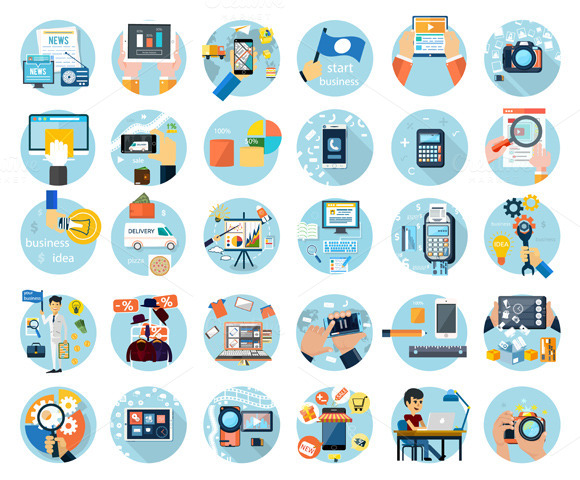 Icons Set For Business Presenteshion