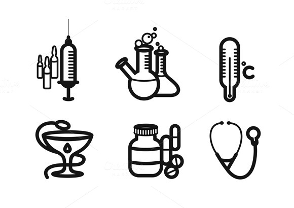Icon Set In Black For Medicine