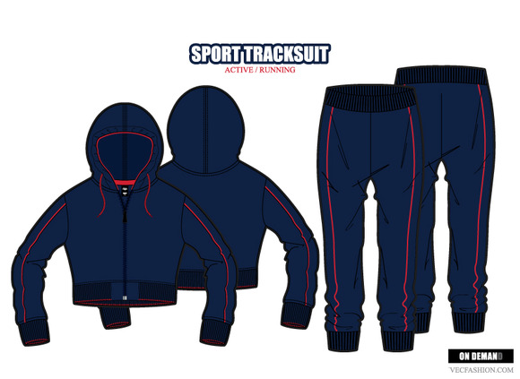 Women Sport Tracksuit Vector Set