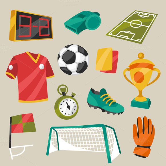 Soccer Symbols In Cartoon Style