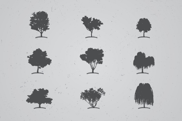 Different Trees Silhouettes