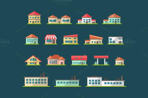 Buildings Flat Design Icons Set 2