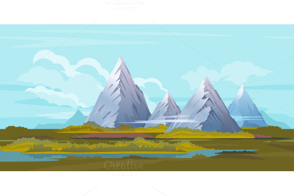 High Mountain Landscape Background