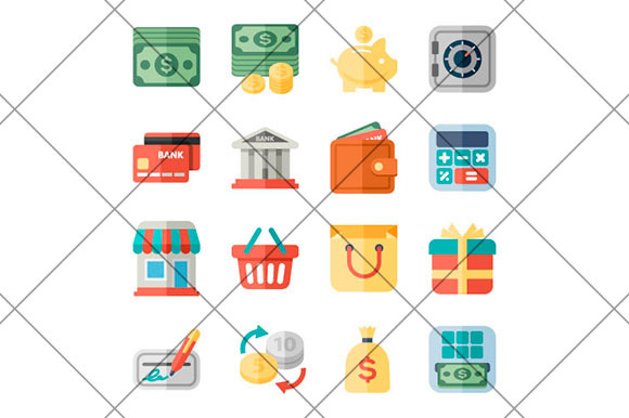 Money Finance Shopping Flat Icons