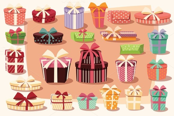 Collection Of 24 Gift Boxes Vector