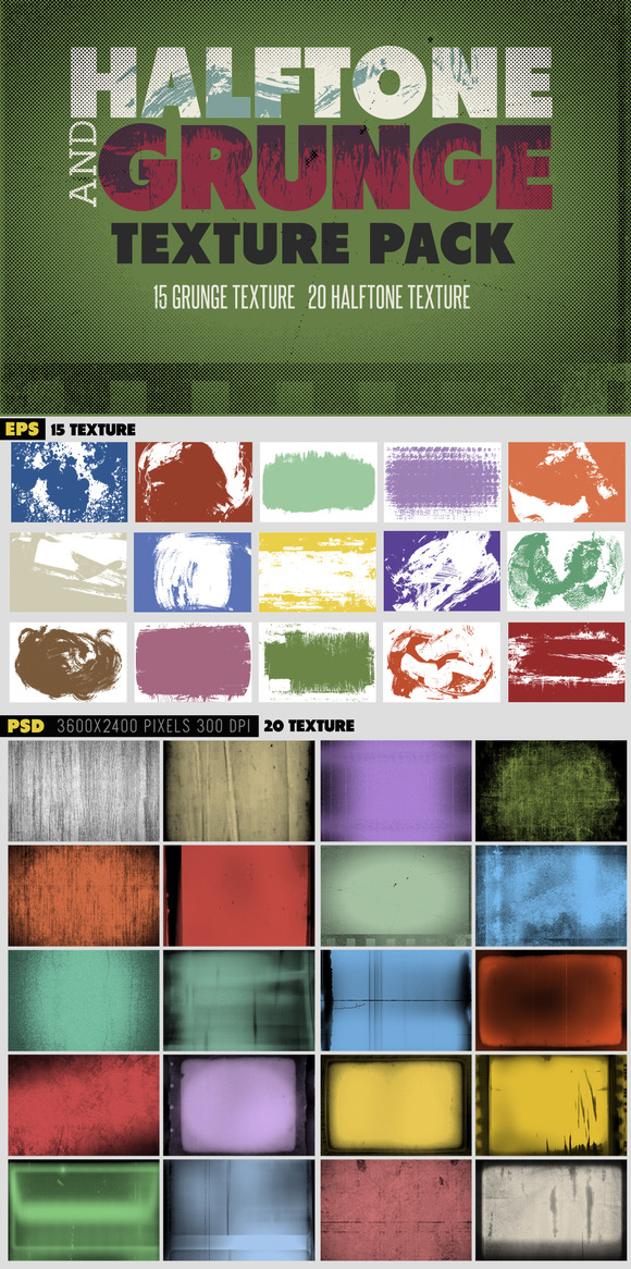 Halftone Grunge Texture Pack