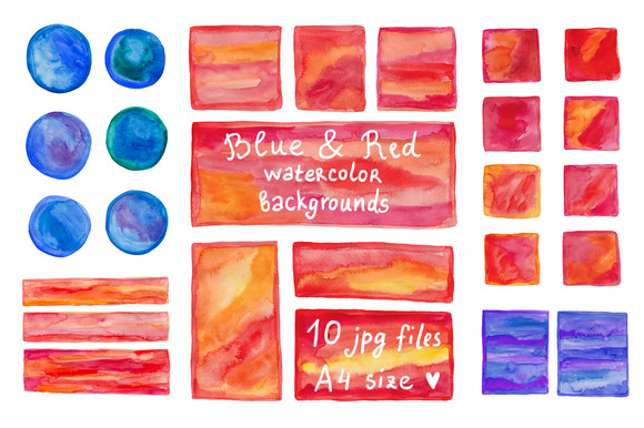 Blue Red Watercolor Backgrounds