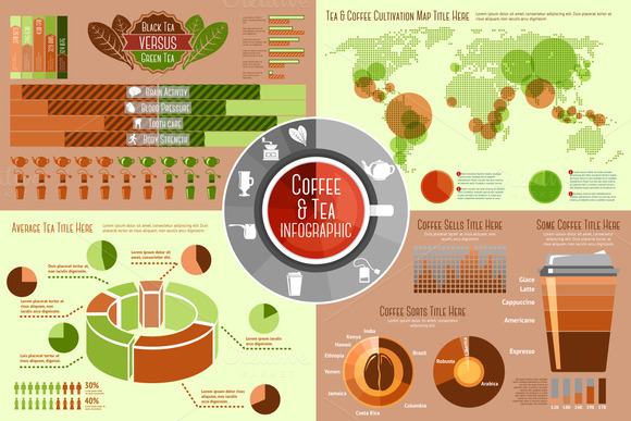 Coffee And Tea Infographics Set