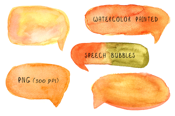 Watercolor Painted Speech Bubbles