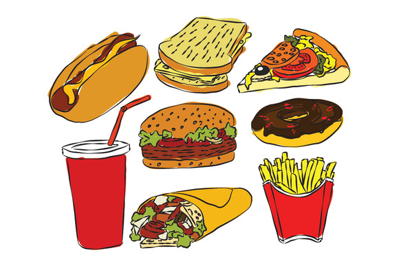 Sketch Style Fastfood Products