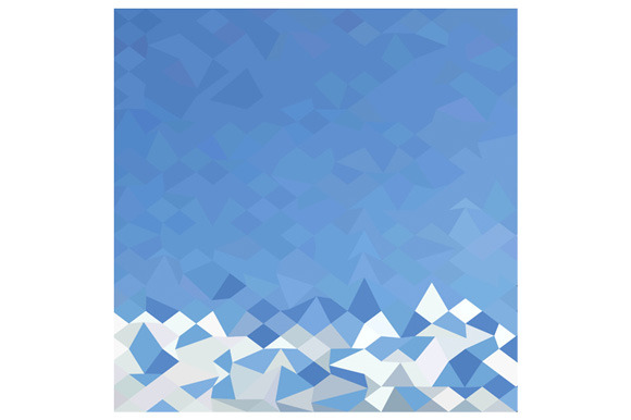 Blue Sea Surf Abstract Low Polygon B
