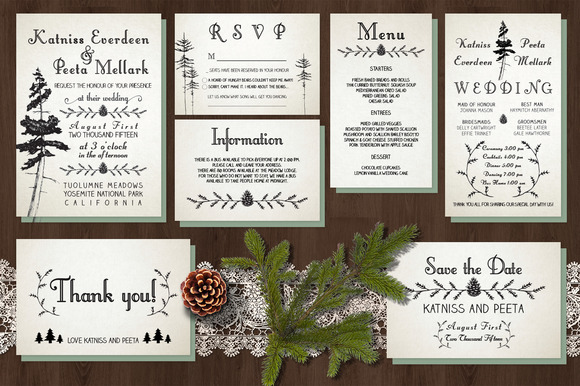 Pine Tree Wedding Invitation Suite