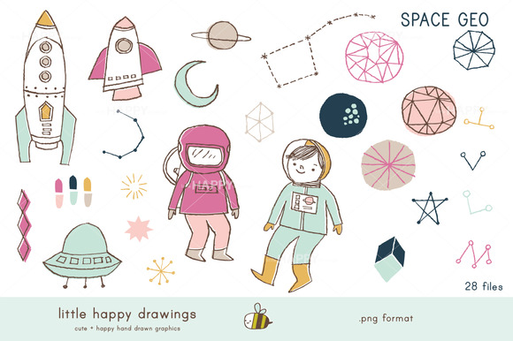 Space Geo Clip Art Set