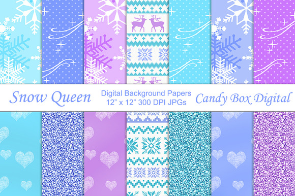 Snow Queen Digital Background Papers