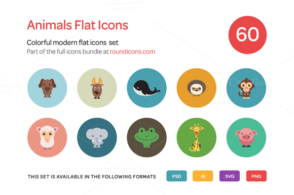 Animals Flat Icons Set