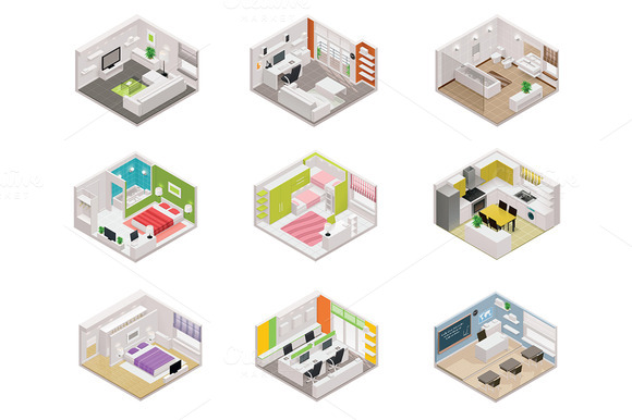 Vector Isometric Rooms