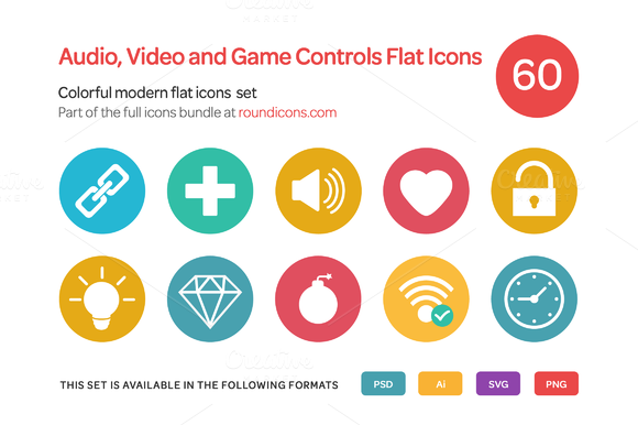Audio Video And Game Controls Flat