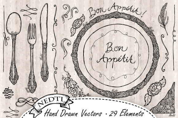 Bon Appetit Hand Drawn Vector