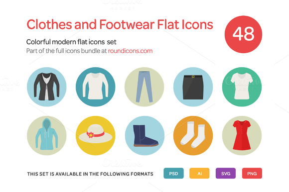 Clothes And Footwear Flat Icons Set
