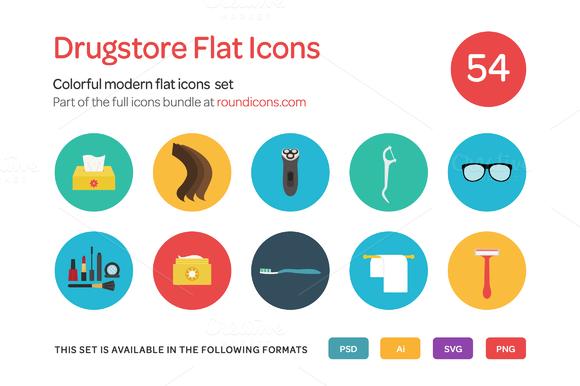 Drugstore Flat Icons Set
