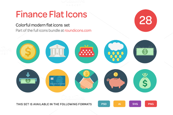 Finance Flat Icons Set