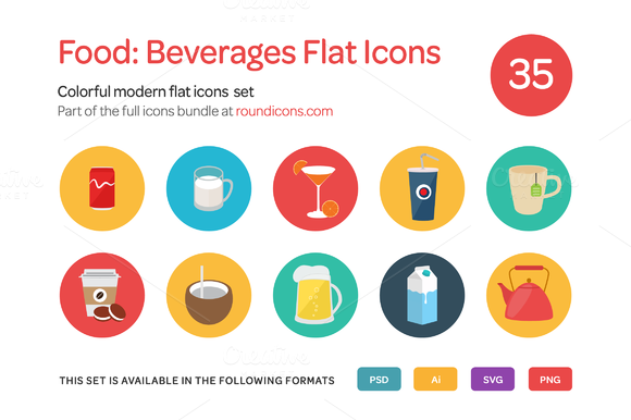 Food Beverages Flat Icons Set