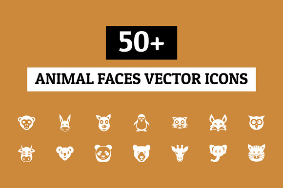 50 Animal Faces Vector Icons