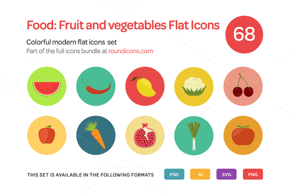 Food Fruit And Vegetables Flat Icon