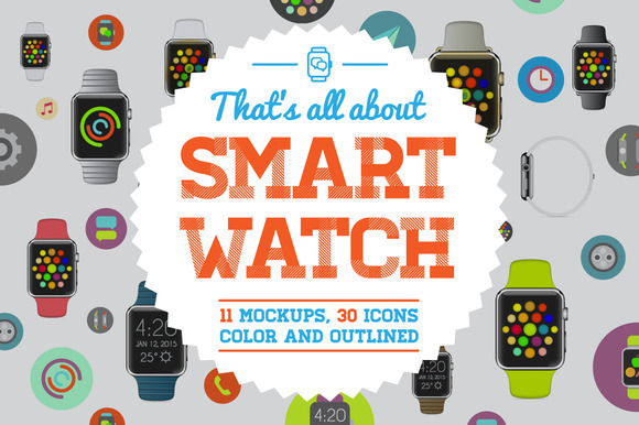 Awesome SmartWatch Mockup Icons Set