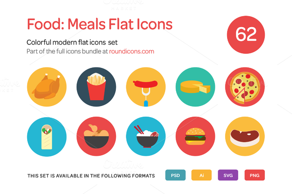 Food Meals Flat Icons