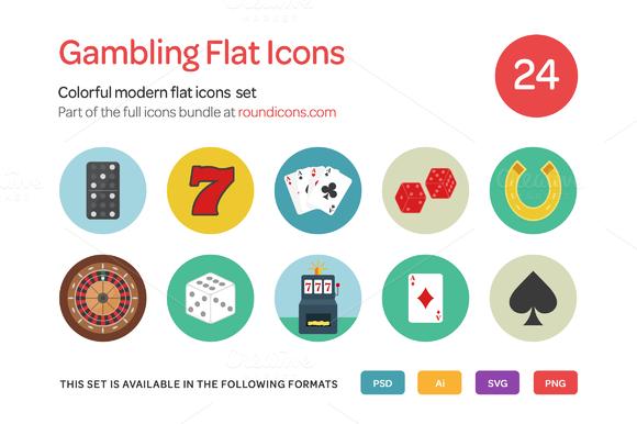 Gambling Flat Icons Set