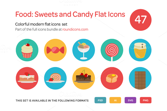 Food Sweets And Candy Flat Icons