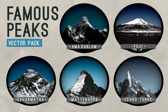 Famous Peaks Vector Pack