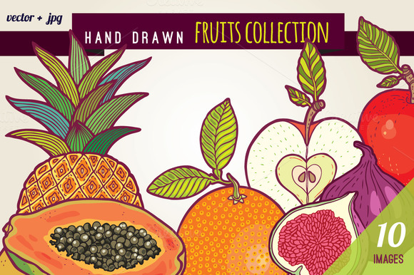 Hand Drawn Fruits Illustrations Pack