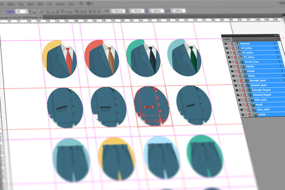 Suit Design Flat Icon Set