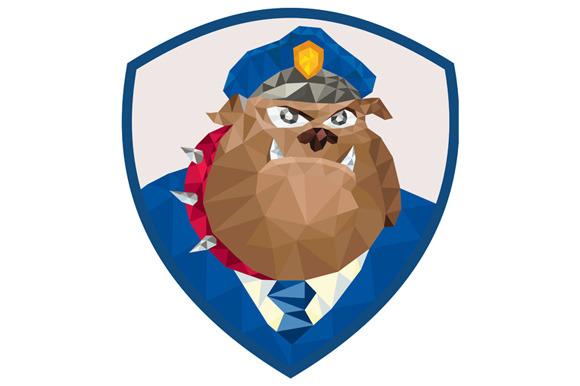 Bulldog Policeman Shield Low Polygon