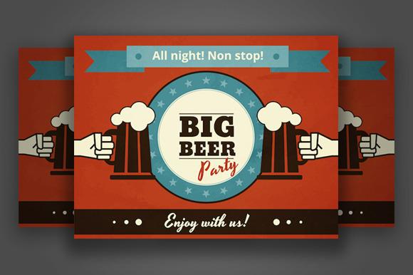 Big Beer Party Vector Poster