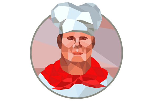Chef Cook Baker Head Low Polygon