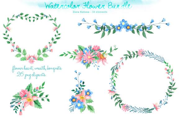 Watercolor Flower Bundle