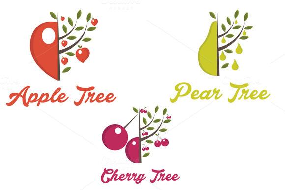 Set Of Fruit Trees