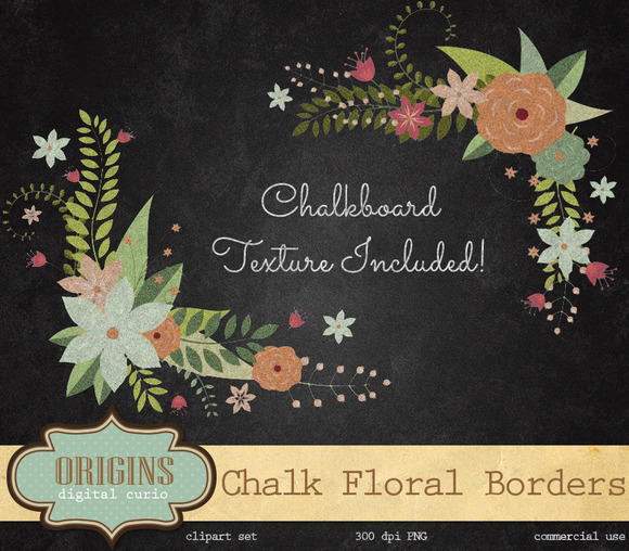 Chalkboard Floral Borders Clipart