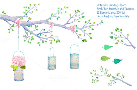 Wedding Clipart Birch Branch Tin Can