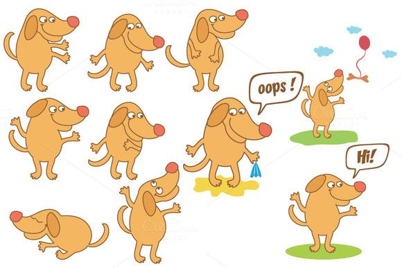 Set Of Cartoon Dog