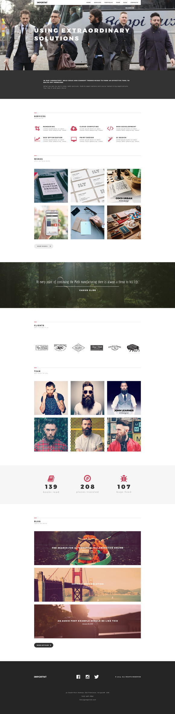 Creative One Page PSD Template