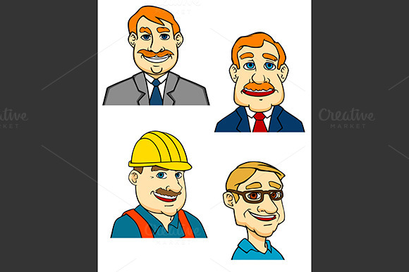 Cartoon Businessmen Builder Doctor