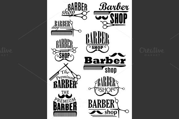 Black Vintage Barber Shop Emblems