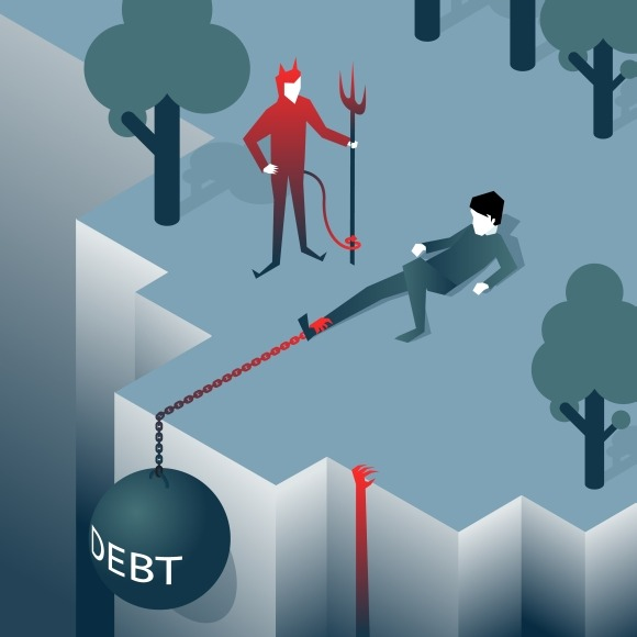 Debt Takes Off Man Over A Cliff