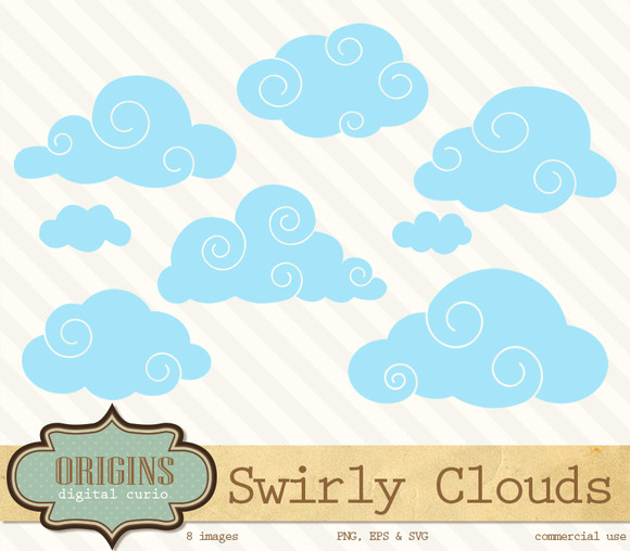 Swirly Clouds Clip Art
